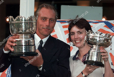 Evening Standard 1998 Amateur Golf Finals At West Byfleet. Men's Champion Carpenter Peter Denton From Tilgate Forest With Ladies Champion Kathryn Laird From Millbrook.