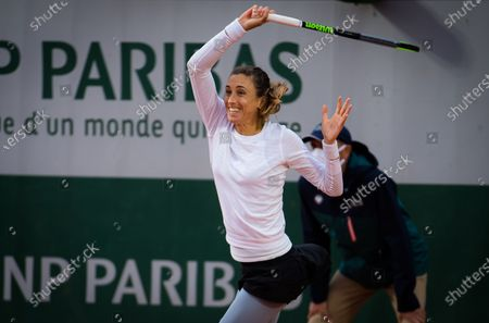 Petra Martic of Croatia in action during the third round at the 2020 Roland Garros Grand Slam tennis tournament