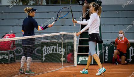 Laura Siegemund, Petra Martic of Croatia in action during the third round at the 2020 Roland Garros Grand Slam tennis tournament