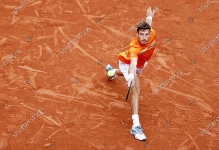 Pablo Carreno Busta of Spain hits a backhand during his third round match against Roberto Bautista Agut of Spain at the French Open tennis tournament at Roland Garros in Paris, France, 03 October 2020.
