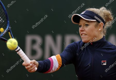 Laura Siegemund of Germany in action against Petra Martic of Croatia during their women's third round match during the French Open tennis tournament at Roland Garros in Paris, France, 03 October 2020.