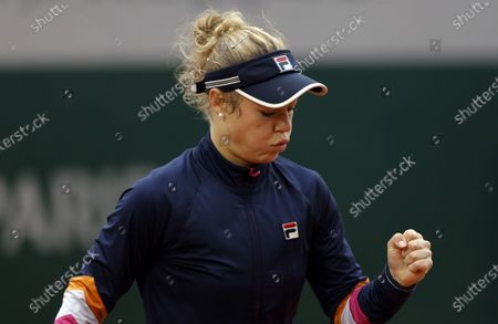 Laura Siegemund of Germany reacts as she plays Petra Martic of Croatia during their women's third round match during the French Open tennis tournament at Roland Garros in Paris, France, 03 October 2020.