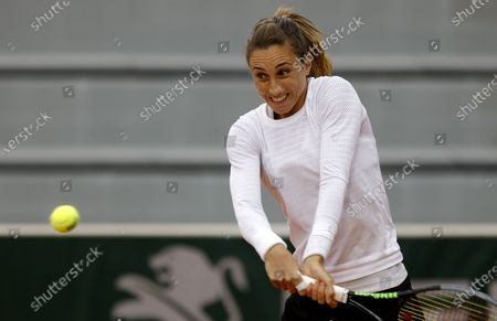 Petra Martic of Croatia in action against Laura Siegemund of Germany during their women's third round match during the French Open tennis tournament at Roland Garros in Paris, France, 03 October 2020.