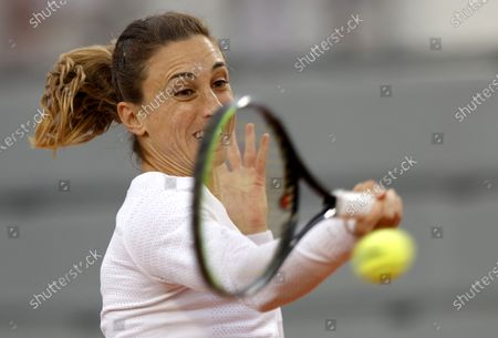 Petra Martic of Croatia plays Laura Siegemund of Germany during their women's third round match during the French Open tennis tournament at Roland Garros in Paris, France, 03 October 2020.