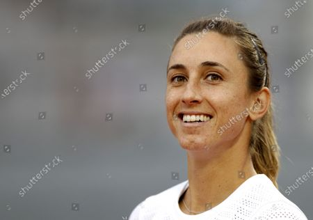 Petra Martic of Croatia reacts as she plays Laura Siegemund of Germany during their women's third round match during the French Open tennis tournament at Roland Garros in Paris, France, 03 October 2020.