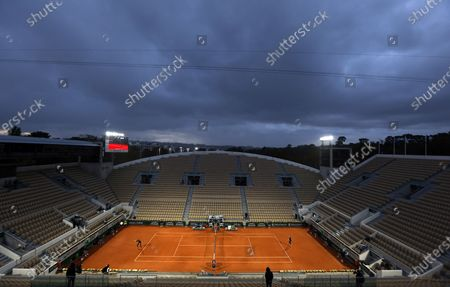 Stock Image of A general view of Court Suzanne Lenglen as Garbine Muguruza of Spain (L) plays Danielle Collins of the USA during their women's third round match during the French Open tennis tournament at Roland Garros in Paris, France, 03 October 2020.