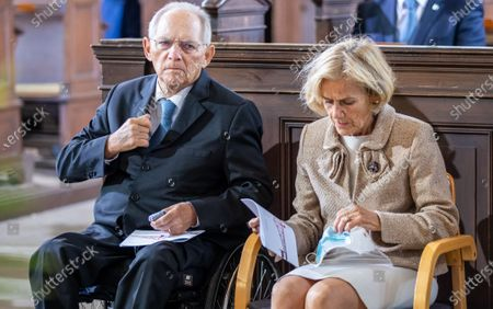 Wolfgang Schaeuble, President of German Bundestag, and his wife Ingeborg Schaeuble attend an ecumenical church service at Saint Peter and Paul church during German Unity Day in Potsdam, Germany, 03 October 2020.