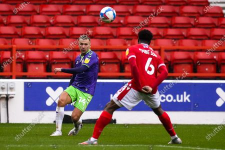 Andreas Weimann of Bristol City crosses the ball