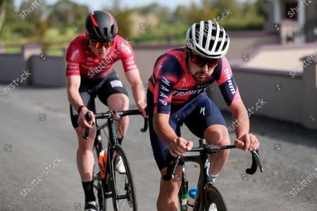 Stock Photo of Ben Healy of Trinity Racing and Darnell Moore of Vitus Pro Cycling p/b Brother UK in early breakaway in the mens senior race