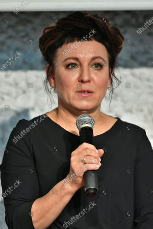 Polish writer Olga Tokarczuk attends a press conference on the start of the Olga Tokarczuk Fundation in Wroclaw, western Poland, 03 October 2020. Olga Tokarczuk won the 2018 Noble Prize for Literature.