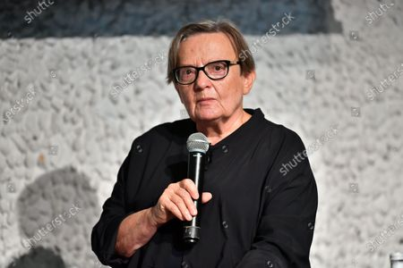 Stock Picture of Polish film director Agnieszka Holland attends a press conference on the start of the Olga Tokarczuk Foundation in Wroclaw, western Poland, 03 October 2020. Olga Tokarczuk won the 2018 Noble Prize for Literature.