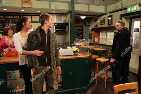 Stock Photo of Daz Eden [Luke Tittensor] Has to Deal with a Drunk Victoria Sugden [Isobel Hodgins] and Aaron Livesy [Danny Miller].