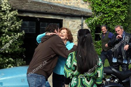 Edna Birch [Shirley Stelfox] Says Goodbye to Lily Butterfield [Anne Charleston] as She Leaves Emmerdale with Eddy Fox [Paul Darrow].