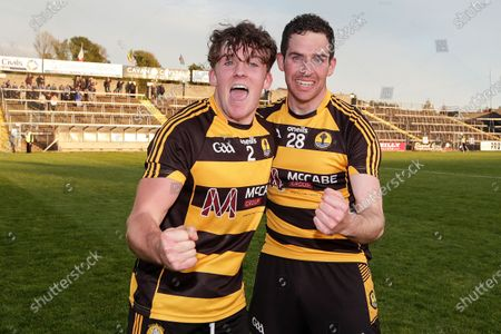 Stock Image of Crosserlough vs Kingscourt Stars. Crosserlough's John Cooke celebrates after the game with Barry McKiernan