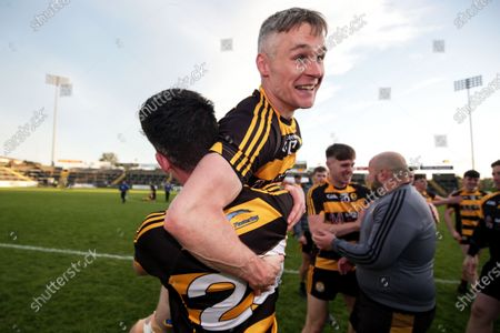 Crosserlough vs Kingscourt Stars. Crosserlough's Adrian Smith celebrates after the game with Pierce Smith