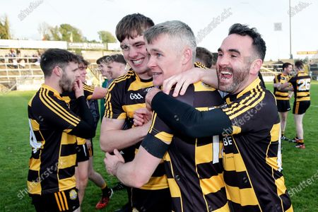 Crosserlough vs Kingscourt Stars. Crosserlough's Adrian Smith celebrates after the game with Eoin Smith and Enda Gaffney