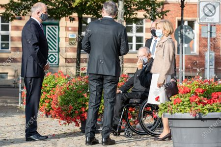 Dietmar Woidke, President of the Federal Council, Wolfgang Schauble, President of German Bundestag, with his wife Ingeborg Schaeuble at Day of German unity - Ecumenical church service in Potsdam
