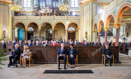 Wolfgang Schauble, President of German Bundestag, with his wife Ingeborg Schaeuble, Dietmar Woidke, President of the Federal Council, with his wife Susanne Woidke and Doyen at Day of German unity - Ecumenical church service in Potsdam
