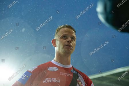 Salford's Kevin Brown is interviewed after his side's victory over Warrington in the semi-final of the Coral Challenge cup.