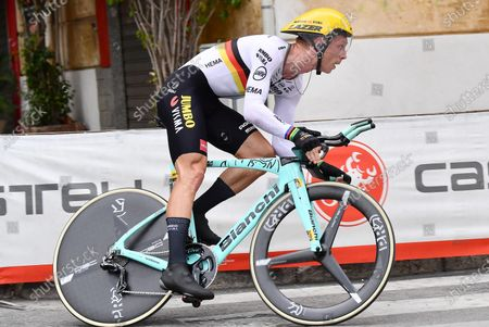 Stock Image of German rider Tony Martin of team Jumbo - Visma in action during the first stage of the 2020 Giro d'Italia cycling race, an individual time trial over 15.1km from Monreale to Palermo, Italy, 03 October 2020. The 103rd edition of the Giro d'Italia will take place from 03 through 25 October 2020.