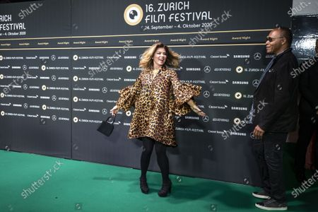 Shania Twain (L) and US musician Ray Parker Jr (R) pose on the Green Carpet during the Award Night ceremony at the 16th Zurich Film Festival (ZFF) in Zurich, Switzerland, 03 October 2020. The festival runs from 24 September to 04 October 2020.