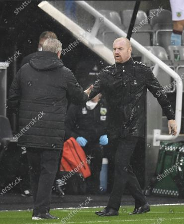 Burnley's manager Sean Dyche (R) greets Newcastle's manager Steve Bruce (L) after the English Premier League match between Newcastle United and Burnley in Newcastle, Britain, 03 October 2020.