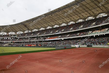A general view of the Olympic stadium of Ebimpe during the inauguration by Ivorian president Alassane Ouattara in Ebimpe, near Abidjan, Ivory Coast, 03 October 2020. The Olympic stadium of Ebimpe, a 60,000-seat capacity is being built by the Beijing Architectural Design Institute and will host top-level sports, football and rugby competitions. An Olympic village covering an area of 287 hectares is planned around the site. The stadium is scheduled to host the opening ceremony and the final match of the 2023 Africa Cup of Nations (AFCON) football tournament.