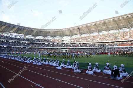 Choreographers perform at the Olympic stadium of Ebimpe during inaugurated by Ivorian president Alassane Ouattara in Ebimpe, near Abidjan, Ivory Coast, 03 October 2020. The Olympic stadium of Ebimpe, a 60,000-seat capacity is being built by the Beijing Architectural Design Institute and will host top-level sports, football and rugby competitions. An Olympic village covering an area of 287 hectares is planned around the site. The stadium is scheduled to host the opening ceremony and the final match of the 2023 Africa Cup of Nations (AFCON) football tournament.