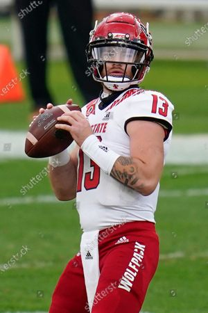 North Carolina State quarterback Devin Leary (13) plays against Pittsburgh Panthers during an NCAA college football game, in Pittsburgh