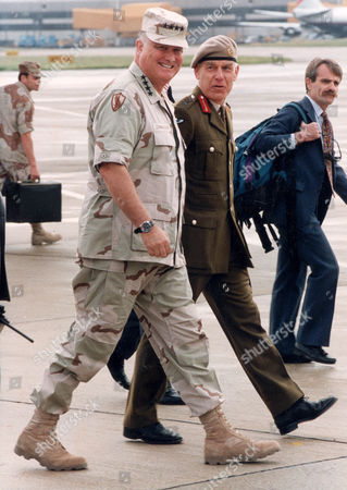 Gulf War Supreme Commander General Norman Schwarzkopf Is Met At Heathrow By British Army Commander General Sir Peter De La Billiere.