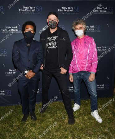 """Musicians Bobby Wooten III, left, Karl Mansfield and Mauro Refosco attend the """"David Byrne's American Utopia"""" film screening at the Queens Drive-In at the New York Hall of Science during the 58th New York Film Festival, in New York"""
