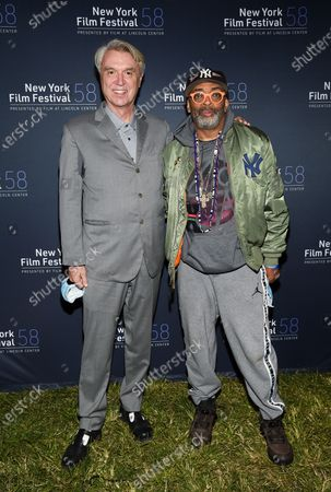 """Musician David Byrne, left, and director Spike Lee attend the """"David Byrne's American Utopia"""" film screening at the Queens Drive-In at the New York Hall of Science during the 58th New York Film Festival, in New York"""