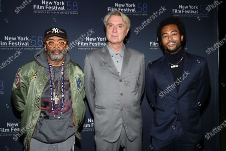 """Director Spike Lee, left, musician David Byrne and musician Bobby Wooten III attend the """"David Byrne's American Utopia"""" film screening at the Queens Drive-In at the New York Hall of Science during the 58th New York Film Festival, in New York"""