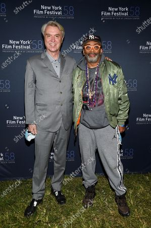 "Musician David Byrne, left, and director Spike Lee attend the ""David Byrne's American Utopia"" film screening at the Queens Drive-In at the New York Hall of Science during the 58th New York Film Festival, in New York"