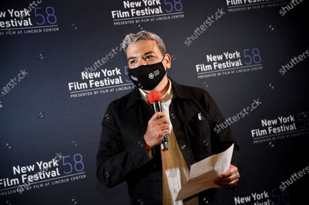 "New York Film Festival director Eugene Hernandez introduces ""David Byrne's American Utopia"" at the Queens Drive-In at the New York Hall of Science during the 58th New York Film Festival, in New York"