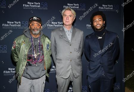 "Director Spike Lee, from left, musician David Byrne and musician Bobby Wooten III attend the ""David Byrne's American Utopia"" film screening at the Queens Drive-In at the New York Hall of Science during the 58th New York Film Festival, in New York"