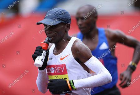 Eliud Kipchoge of Kenya in action in the elite men's race during the London Marathon in London, Britain, 04 October 2020.