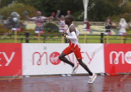 Eliud Kipchoge of Kenya during the elite men's race at the London Marathon in London, Britain, 04 October 2020.