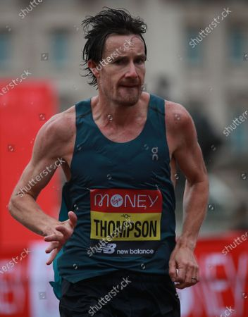 Chris Thompson of Britain in action during elite men's race at the London Marathon in London, Britain, 04 October 2020.