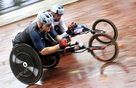 Stock Picture of John Boy Smith (R) and David Weir of Great Britain compete in the men's elite wheelchair race of the London Marathon in London, Britain, 04 October 2020.