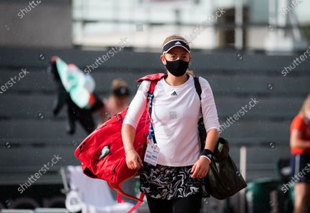 Jelena Ostapenko of Latvia playing doubles at the 2020 Roland Garros Grand Slam tennis tournament