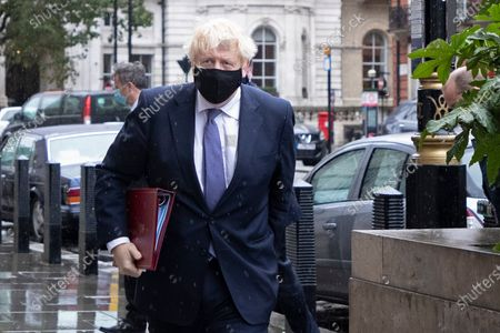 Prime Minister Boris Johnson arrives at the BBC. Later he will appear on the Andrew Marr Show.