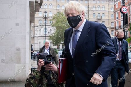 Stock Image of Prime Minister Boris Johnson arrives at the BBC. Later he will appear on the Andrew Marr Show.