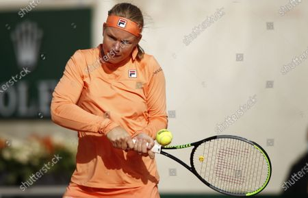 Kiki Bertens of the Netherlands hits a backhand during her fourth round match against Martina Trevisan of Italy during the French Open tennis tournament at Roland Garros in Paris, France, 04 October 2020.