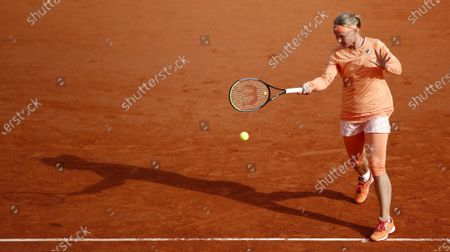 Kiki Bertens of the Netherlands hits a forehand during her fourth round match against Martina Trevisan of Italy during the French Open tennis tournament at Roland Garros in Paris, France, 04 October 2020.