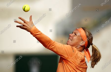 Kiki Bertens of the Netherlands serves during her fourth round match against Martina Trevisan of Italy during the French Open tennis tournament at Roland Garros in Paris, France, 04 October 2020.