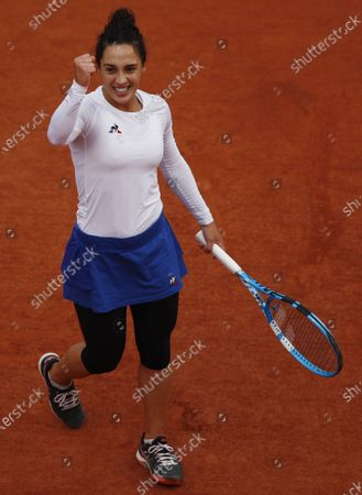 Martina Trevisan of Italy celebtates after winning a point during her fourth round match against Kiki Bertens of the Netherlands during the French Open tennis tournament at Roland Garros in Paris, France, 04 October 2020.