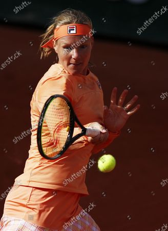 Kiki Bertens of the Netherlands plays a forehand during her 4th round match against Martina Trevisan of Italy during the French Open tennis tournament at Roland Garros in Paris, France, 04 October 2020.