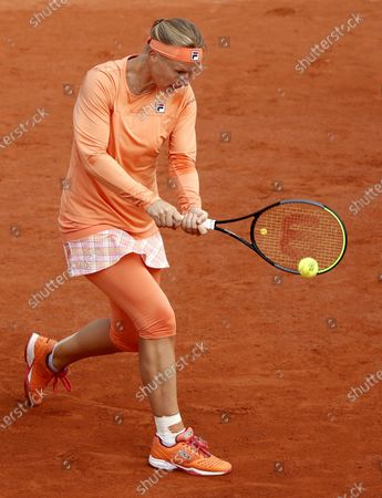 Kiki Bertens of the Netherlands plays a backhand during her 4th round match against Martina Trevisan of Italy during the French Open tennis tournament at Roland Garros in Paris, France, 04 October 2020.