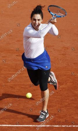 Martina Trevisan of Italy hits a backhand during her 4th round match against Kiki Bertens of the Netherlands during the French Open tennis tournament at Roland Garros in Paris, France, 04 October 2020.